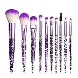 Brosse de Maquillage Set 10 Morceaux de Cristal en Plastique Brillant Cristal Maquillage Brosse fonde Mixte Blush Ombre Ombre oculaire oeilf lèvre Brosse Gloss