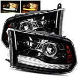 Modifystreet Polished Black For 09-18 Ram 1500/10-18 Ram 2500/3500 Dual/Quad Projector Headlights Upgrade Kit