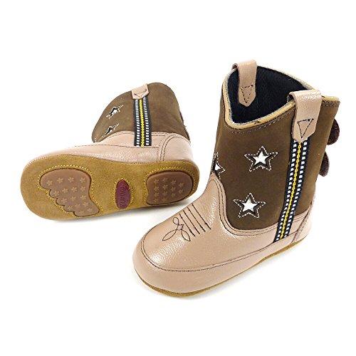 Westernwear-Shop baby lederen cowboylaarzen Western laarzen Boy Stars (sterren) baby-Western laarzen kinder-Western laarzen Cowboy Boots voor jongens bruin