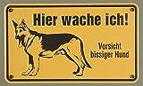 Qualitäts - Aluminium Schild Vorsicht bissiger Hund Hier wache ich 120x200 mm geprägtes Aluschild 0,6 mm Alu