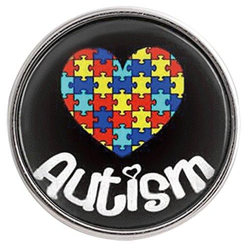 My Prime Gifts Snap Jewelry   Puzzle de Autismo con Forma de corazón (tamaño estándar 18 – 20 mm)