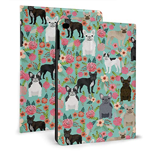 Frenchie Florals Cute French Bulldogss PU Leather Folio Stand Cover with Auto Wake/Sleep for 7.9inch Fit IPad Mini 4 IPad Mini 5th Gen 2019