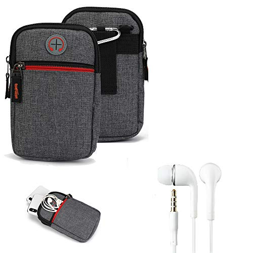 K-S-Trade Gürtel-Tasche + Kopfhörer Kompatibel Mit BlackBerry Key 2 LE Dual-SIM Handy-Tasche Holster Schutz-hülle Grau Zusatzfächer 1x