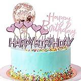 YUSHIWA Kit Decoración de Tartas de Cumpleaños Adorno de Pastel Velas de Cumpleaños Globo de Confeti Happy Birthday Topper Estrellas para Fiestas, Bodas, Aniversarios, Niños ( Oro Rosa)