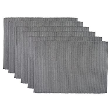 DII Ribbed Everyday Basic Placemat (Set of 6), 13 x 19, Gray