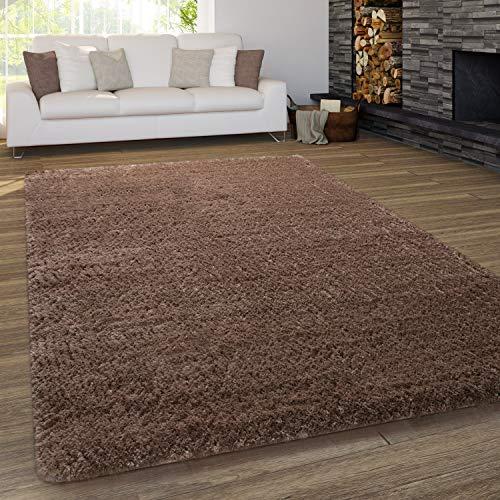 Paco Home Teppich Wohnzimmer Shaggy Hochflor Waschbar Einfarbiges Design, Grösse:140x200 cm, Farbe:Braun