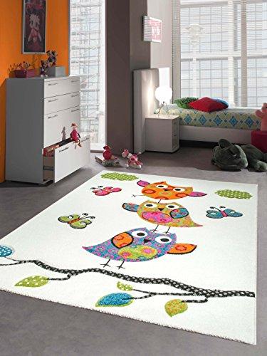 Enfants tapis de jeu tapis enfants de tapis mignon hiboux avec contour de coupe Crème Rose Turquoise Vert Gris Orange Noir Größe 120x170 cm
