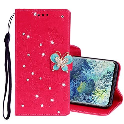 Hangmao Teléfono móvil Protección de la Caja para Samsung Galaxy A31 Diamond Butterflies incrustados Patrón de Relieve Funda de Cuero de Flip Horizontal con Soporte y Ranuras para Tarjetas y cordón