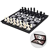 Ajedrez Damas y Backgammon magnético Juego de ajedrez for niños y Adultos con 3 en 1 ajedrez Damas y Backgammon, ajedrez Plegable portátil de 12,4 Pulgadas Viaje Sets G zhihao