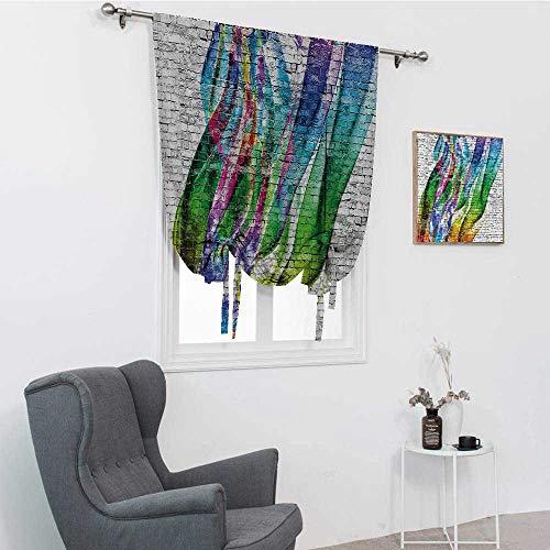 GugeABC Rideaux de salle de bain rustiques pour fenêtre de salle de bain, motif grunge, dessin sur surface, comptoir de ville, culture, artisanal, tige, multicolore, 88,9 x 162,6 cm