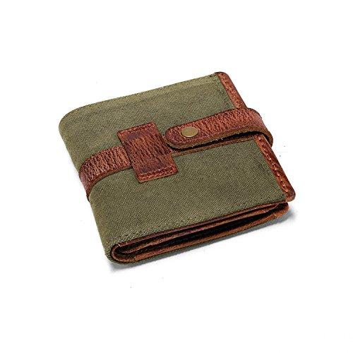 DRAKENSBERG Kimberley Wallet, Trifold, Purse, Buffalo Leather, Canvas, Safari-Style, Handmade, Olive Green, Brown