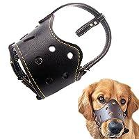 Kismaple cuir véritable réglable Chien de compagnie Bouche Muselières Couverture Barking Anti-mordant Masque pour chien Marron