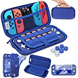 HEYSTOP Case Compatible with Nintendo Switch Lite, Protective Case Carry Case for Nintendo Switch Lite Console and Accessories,Switch Lite Travel Case with TPU Protective Case and Thumb Cap,Blue