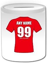 UNIGIFT Spersonalizowany prezent - skarbonka w Walii (motyw designu zespołu rugby Union White) - dowolne imię / wiadomość ...