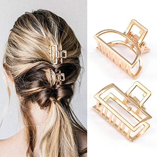 Avicom Haarklammern Gold Haarspange Legierung Haarklammer Mini rutschfeste geometrische Clips Haarschmuck für Frauen und Mädchen (2 Stück)