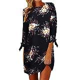 MORCHAN Femmes Boho Floral Impression Soirée Décontractée Mini Maxi Beach Dress(Noir,FR-46/CN-2XL)