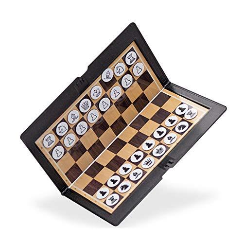 ALEOHALTER Juego magnético plegable de ajedrez portátil de viaje magnético plegable de ajedrez de alto grado mini portátil