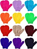 Boao 12 Pairs Stretch Mittens Winter Warm Knitted Gloves for Halloween Party Kids Toddler Supplies (Khaki, Camel, Dark Blue and Colorful Candy Color)
