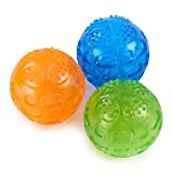 PETTOM Dog Ball Squeaky Toy Durable Pet Chew Toys Balls Waterproof Bouncy Rubber Dog Toys with Squeaky Sound for Pets Training Swimming Playing Running, 3 Packs (Orange,Blue,Green)
