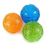 PETTOM 3Pz Palle Giocattolo per Cani Gatti Suono Morso Resistente Palla Rimbalzante in Gomma per Pulizia Denti Gioco Interattivo 7.5cm (Arancione + Blu + Verde)