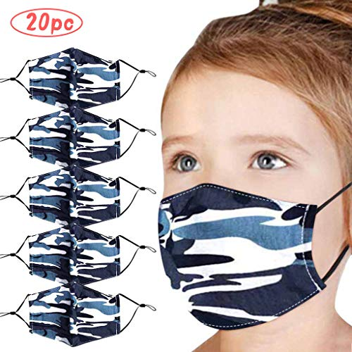 Xiang+y 20 PC Kids Colorblock Star/Camouflage Print Ice Silk Bandanas, 3-Ply Breathable Non-Woven Cloth Cover, Dustproof/Reusable, Stretchy Earloop (20X-Blue)