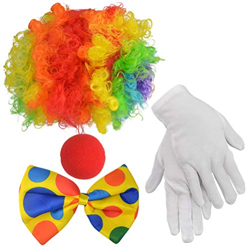 Clown Costume Set of 4, Jerbro Clown Rainbow Wig Clown Nose Bow Tie White Gloves for Clown Parties Carnivals Pretend Play