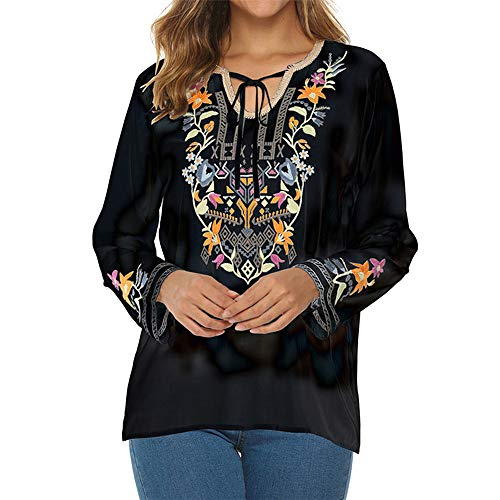 PRJN Women Long Sleeve Printed T-Shirt Tops Autumn Ladies Casual Jumper Blouse Womens Tops T Shirts Floral V Neck Long Sleeve Loose Tunic Blouse Shirts Womens V Neck Pullover Ladies Loose top