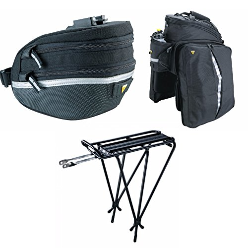 Topeak MTX DXP Bicycle Trunk Bag with Rigid Molded Panels + Explorer Rack + Survival Tools Saddle Pack Kit