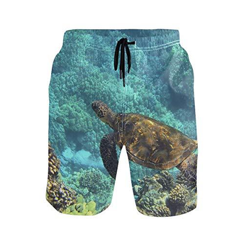 SENNSEE Unterwasser Meer Schildkröte Badehose für Herren Jungen schnell trocknende Strandshorts mit Taschen Gr. L/XL, mehrfarbig