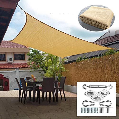 Beige Vierkant Zon Shade Sail Luifel Luifel met roestvrij stalen Kit, 95% UV Verstopping, Water & luchtdoorlatend voor Patio Yard Pergola,4.88 * 4.88M
