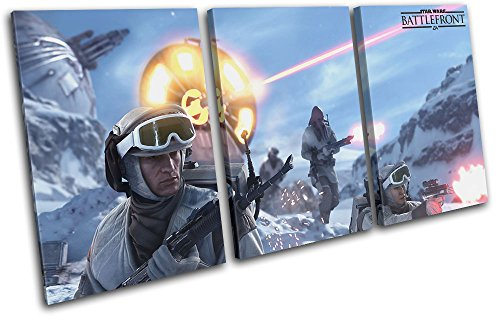 Bold Bloc Design - Star Wars Battlefront Gaming 180x90cm Treble Canvas Art Print Box Framed Picture Wall Hanging - Hand Made in The UK - Framed and Ready to Hang