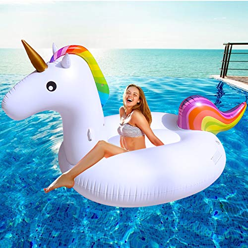 TURNMEON Inflatable Unicorn Pool Float Giant Pool Floatie Summer Beach Float Swimming Pool Party Toys Lounge Raft Rideon Water Pool Toys for Adults Kids102quotx 45quotx 41quot