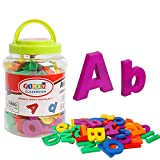 JCREN Jumbo Magnetic Alphabet Letters and Numbers Toy ABC 123 Fridge Plastic Toy Educational Magnet in Bucket Preschool Learning Spelling Counting Uppercase Lowercase Math Symbols for Toddler(80pcs)