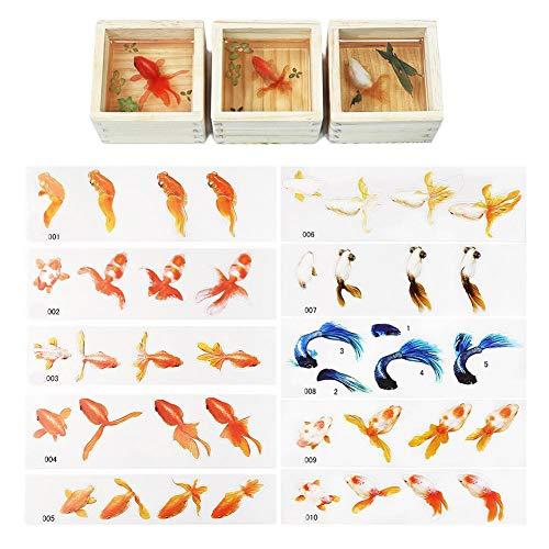 Hojas para scrapbooking, pegatinas en diferentes diseños de peces dorados, para diario, scrapbook calendario, cuaderno de fotos, álbum de fotos, decoración DIY