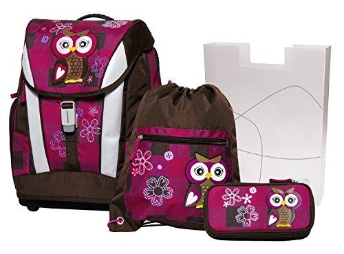Schneiders Vienna Schulranzenset Soft Olivia The Owl, 4 teilig, Ranzen, Sportbeutel, Federmappe, Heftbox Schulranzen-Set, 24 Liter, Bordeaux