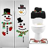 4 pezzi s pupazzo di neve toilette copertura sedile set serbatoio copertura tessuto scatola copertina tappeto tappeto piano tappetino e pupazzo di neve adesivi frigorifero s pupazzo di neve calendario