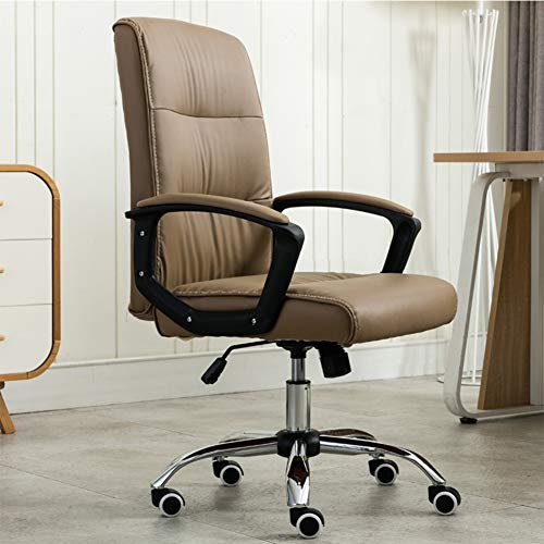 RNNTK with Armrests Leather Executive Chair, Ergonomic Mid Back Home Office Desk Chairs Rolling,Modern with Casters Office Computer Desk Chair Easy to Assemble Khaki
