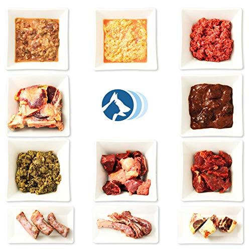 Barf-Komplett-Paket 21 kg tiefgekühltes Frostfutter für Hunde besteht aus Rindermuskelfleisch, grüner Pansen, Rinderherz, Rinderleber, Euter, Niere, Rinderlunge, Putenhals, Entenhals und Knabbertüte
