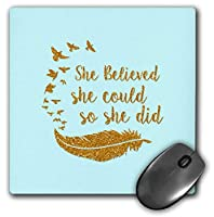 3dRose Mouse Pad She Believed She Could- Gold Glitter Typography on Blue, 8 x 8' (mp_267042_1) [並行輸入品]