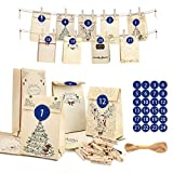 Adventskalender zum Befüllen- 24 Wiederverwendbar Weihnachtskalender Papiertüten, 1-24...