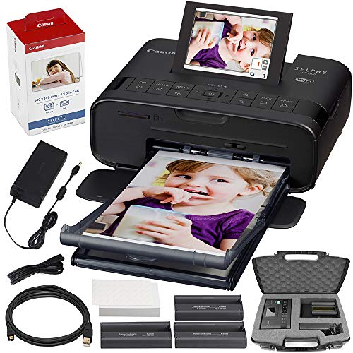 Canon SELPHY CP1300 Compact Photo Printer (Black) with WiFi w/Canon Color Ink and Paper Set + Case