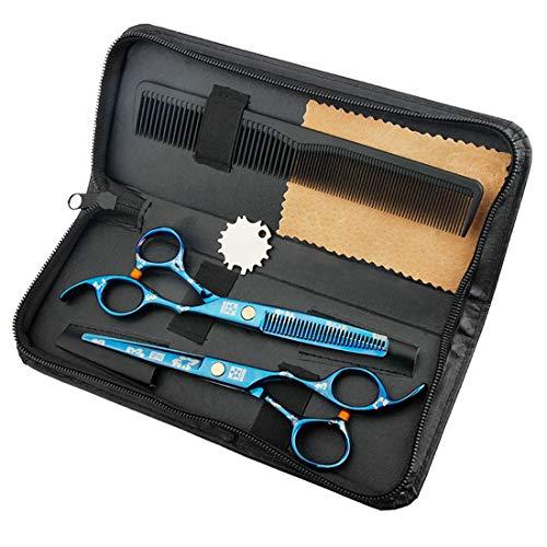 JIAODIE Lot de 6 paires de ciseaux de coiffure pour salon, barbiers, femmes, hommes et enfants Bleu