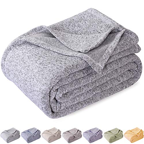 KAWAHOME Knit Blanket Lightweight Warm Fuzzy Heather Jersey Blankets All Season for Couch Sofa Bed Queen Size 90 X 90 Inches Grey and White