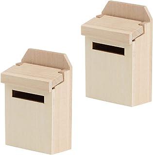 Generic 2pcs Miniature Mailbox Dollhouse Mailbox Model Fairy Garden Mailbox Mini Wooden Dollhouse Furniture Accessories