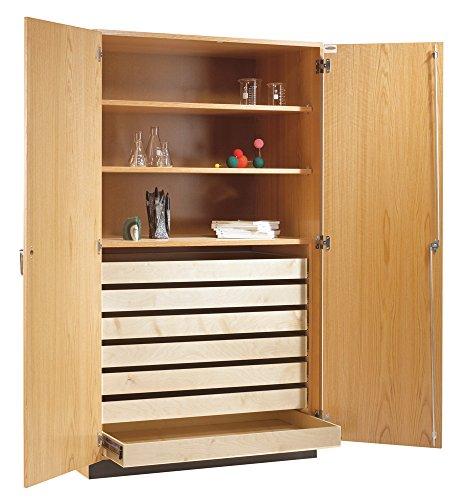 "Big Sale Diversified Woodcrafts 354-4830 Solid Oak Wood Rock/Paper Storage Cabinet, 48"" Width x 84"" Height x 30"" Depth, 3 Shelves"