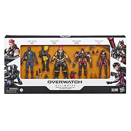 Overwatch Ultimates Series Carbon Series Action Figure 4-Pack with Genji, Zarya, Pharah, and D. Va – Blizzard Video Game
