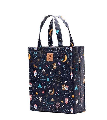 SturdyFoot Bolso del libro con el gusset, bolso de la música, bolso de totalizador, bolso de compras, bolso de oilcloth, Bolsas de la compra reutilizables, impermeable Bolsa -Búho de primavera