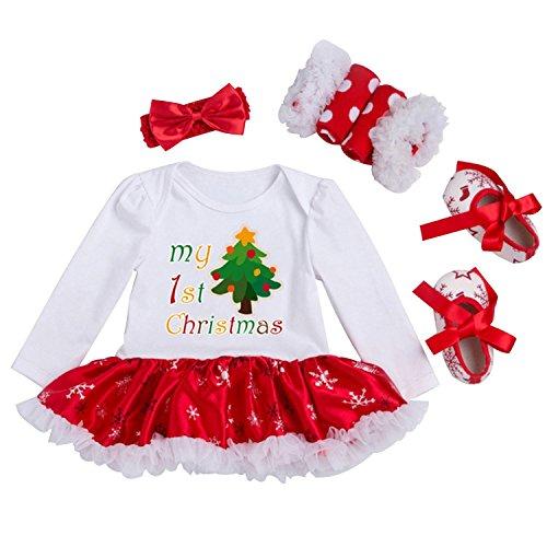 Looching Newborn Baby Girls Christmas Outfit Infant Romper Tutu Dress 4Pcs Set, Christmas Tree, 0-3 Months
