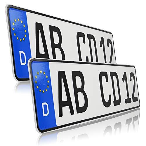 UTAL 2 x Stück EU Kfz-Kennzeichen 46 cm x 11 cm Nummernschilder 460 mm mit individueller Prägung nach Ihren Vorgaben. (460)