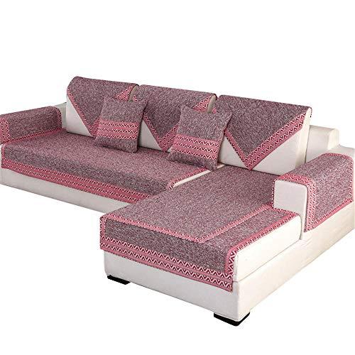 Fundas de sofá de Lino de algodón Funda de sofá seccional para Sala de Estar Funda de sofá Funda de sofá seccional Acolchada Cojines para sofá Protector de Muebles,Rojo,110 * 160cm
